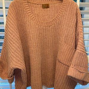 Cozy rose chenille oversized short sweater
